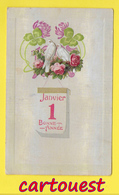 CPA ֎ Nouvel An - Trèfles - Colombes - Pivoines Roses - New Year