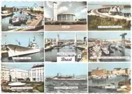"""29 - Brest - Multivues (9) : Gare, Pont De Plougastel, Le Cuirassé """"Jean-Bart"""", La """"Jeanne D'Arc""""... (circ. 196?) - Brest"""
