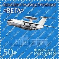 "Russia 2019 1 V MNH Company Of Radio Engineering ""VEGA"" — Enterprise Of Radio-electronic Complex Aircraft Plane - Fábricas Y Industrias"