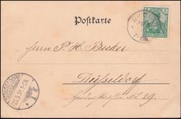 55 Germania Reichspost Auf AK Grenzleben Im Drei-Länder-Blick, OUDLER Mai 1901 - Deutschland
