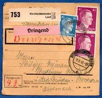 Colis Postal  -  Départ Kirchheimbolanden - Pour Thedingen ( Theding) - Kochern ( Cocheren ) - Allemagne