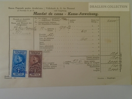KA402.8 Romania Volksbank Neuarad - Aradul-Nou - Mandat De Cassa- Kassa Anweisung Arad - Felnac -stamp Ca 1929 - Facturas & Documentos Mercantiles