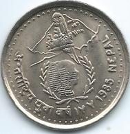 Nepal - Birendra - VS2042 (1985 -२०४२) - 5 Rupees - International Youth Year - KM1023 - Nepal