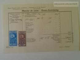 KA402.9 Romania Volksbank Neuarad - Aradul-Nou - Mandat De Cassa- Kassa Anweisung Arad - Felnac -stamp Ca 1929 - Facturas & Documentos Mercantiles