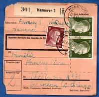 Colis Postal  -  Départ Hannover ( Hannovre)  - Pour Thedingen ( Theding) - Cochern ( Cocheren ) / Coins Abimés - Allemagne