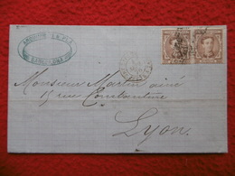ESPAGNE LETTRE BARCELONA A LYON 1876 CACHET AMBULANT ESPAGNE CETTE A TAR A TIMBRE ALFONSO XIII - 1872-73 Royaume: Amédée I