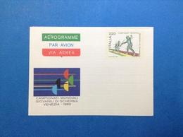 1980 ITALIA AEROGRAMMA POSTALE NUOVO NEW MNH** MONDIALI SCHERMA 220 LIRE - Interi Postali