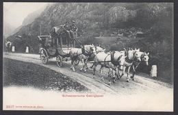 CPA  Suisse, Schweizerische Gebirgspost, Attelage Diligence Chevaux. - Suisse