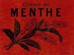 "D9315 "" CREME DE MENTHE - LIQUNEAU - PARIS DEPOE ""GOMMATA AL VERSO, ETICHETTA ORIGINALE,FINE XIX SEC. - Altri"