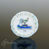 Feve Assiette Bretagne Quimper Coq Miniature Porcelaine - Charms