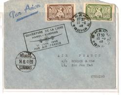 Ouverture De La Ligne Hanoi- Kunming,11 Juin 1948 - Cachets Généralité