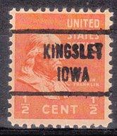 USA Precancel Vorausentwertung Preo, Locals Iowa, Kingsley 721 - Vereinigte Staaten