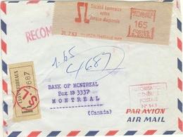 EMA SOC LYONNAISE VOTRE BANQUE REGIONALE TARIF PARTICULIER LETTRE 2ème RECOMMANDEE AVION CCANADA 31/7/63 165F - Marcophilie (Lettres)