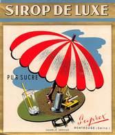 """D9321 """" SCIROPPO DE LUXE - PUR SUCRE - SUPREX - MONTROUGE (SEINE)"""" LACCATA AL FRONTE, ETICHETTA ORIGINALE, 1950 - Etichette"""