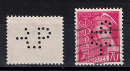"""PERFORATION """" RP """" De RHONE POULENC Sur MERCURE 70c N° N° 416 (PERFIN PERFO ANCOPER) - France"""
