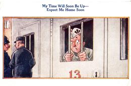 Comics Humor Comic Comique Humour - Expect Me Home Soon - Jail Prison - 2 Scans - Humour