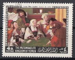 "Mutawakelite K. Yemen 1968 Mi. 560 ""La Partita Di Carte"" Quadro Dipinto Da L. Van Leyden Paintings Tableaux CTO - Altri"