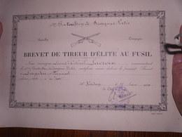 BREVET DE TIREUR D' ELITE AU FUSIL 4em Bataillon De Dragons Portés Lieutenent  Colonel LACROIX - Documenti