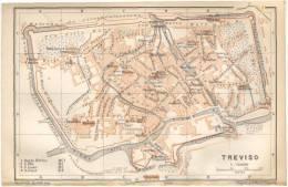TREVISO  - PIANTA DEL *1905*, MAPPA, CARTA, NOTEVOLE, RICCA IN PARTICOLARI - Stampe & Incisioni