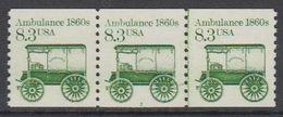 USA 1985 Ambulance 1860s 1v Strip Of 3 ** Mnh (43133B) - Verenigde Staten