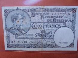BELGIQUE 5 FRANCS 1938 CIRCULER - 5 Franchi