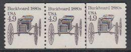 USA 1985 Buckboard 1980s 1v Strip Of 3 ** Mnh (43133E) - Verenigde Staten