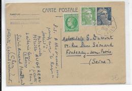 1949 - DEUX-SEVRES - CARTE ENTIER GANDON Avec CACHET HEXAGONAL De MAGNE => FONTENAY - Marcophilie (Lettres)