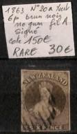 [829614]TB//O/Used-c:150e-Nouvelle-Zélande 1863 - N° 20a, 6p Brun-noir, Fil A, Nogum, Signé, Cote 150 Euros - 1855-1907 Colonie Britannique