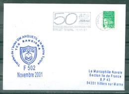 Transfert De L'aviso Q.M. ANQUETIL à La Marine Turque TCG BANDIRMA F 502 Novembre 2001 Flamme Brest Naval Du 15-11-01 - Marcophilie (Lettres)