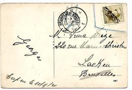 """Cantons De L' Est. TP Belge 166 (NON VALABLE) Obl. ROULETTE + Càd EUPEN 1 - 10.9.20 V. LAEKEN. Marque """"T"""". TB - Belgique"""