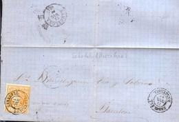Año 1860 Edifil 52 4c Isabel II  Envuelta Matasellos Sabadell Barcelona Tipo II - Gebruikt