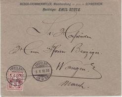 Schweiz - 5 Rp. Kreuz/Wertschild Ambulant No.59 Brief Schmerikon - Wangen 1888 - Schweiz