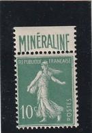 France 188A Minéraline Charniére Inviible Sur Bord De Feuille , Centrage Correct - Nuovi