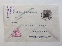 GERMANY Polish Occupation 1917 Cover With Warsaw Town Post Cachet `Poczta Miejska Fenygi` - Occupation 1914-18