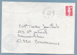 PARIS NAVAL 00300 MARINE NATIONALE SERVICE A LA MER GUERRE DU GOLFE  LETTRE 08 11 1990 - Marcophilie (Lettres)