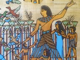 KA403.19 PAPYRUS ÉGYPTIEN - Peinture De Qualité, Collée Sur Du Carton Noir 15X20cm - Fishing - Pecheurs - Art Africain