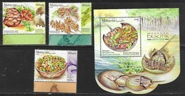 MALAYSIA, 2019, MNH,EXOTIC FOODS, CRABS, HORSESHOE CRAB, INSECTS, PORCUPINE, FAUNA, 3v+S/SHEET - Food
