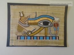 KA403.22  PAPYRUS ÉGYPTIEN - Peinture De Qualité, Collée Sur Du Carton Noir 15X20cm  Horus And Cobra - Art Africain