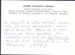 Visitekaartje - Carte Visite - Avocat Notaire Député - Andre Chamart - Houssa - Bruxelles - Cartes De Visite