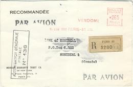 EMA 2.65F TARIF PARTICULIER LETTRE RECOMMANDEE AVION  CANADA 4ème ECHELON10/6/64 - PEU COMMUN - Marcophilie (Lettres)