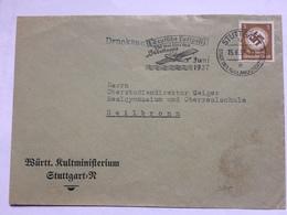 GERMANY 1937 Cover Stuttgart To Heilbronn `Deutsche Luftpost 250 Mal über Den Südatlantik ` Slogan Cancel - Deutschland