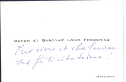 Visitekaartje - Carte Visite - Baron & Baronne Louis Fredericq - Merelbeke - Cartes De Visite