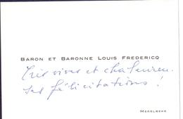 Visitekaartje - Carte Visite - Baron & Baronne Louis Fredericq - Merelbeke - Visiting Cards