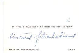 Visitekaartje - Carte Visite - Adel Noblesse - Baron & Baronne Casier De Ter Beken - Gand - Gent - Cartes De Visite