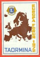 LIONS CLUB - TAORMINA - EUROPA FORUM . 1972 - Cartoline