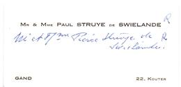 Visitekaartje - Carte Visite - Adel Noblesse - Mr & Mme Paul Struyve De Swielande - Gand Gent - Cartes De Visite