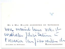 Visitekaartje - Carte Visite - Adel Noblesse - Mr & Mme Gilles Janssens De Varebeke - Bevere Oudenaarde - Visiting Cards