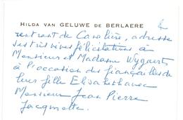 Visitekaartje - Carte Visite - Adel Noblesse - Hilda Van Geluwe De Berlaere - Cartes De Visite