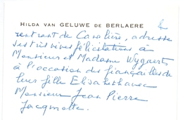 Visitekaartje - Carte Visite - Adel Noblesse - Hilda Van Geluwe De Berlaere - Visiting Cards