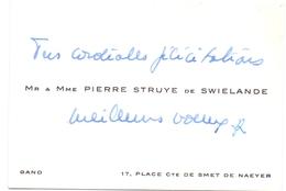 Visitekaartje - Carte Visite - Adel Noblesse - Mr & Mme Pierre Struyve De Swielande - Gand Gent - Visiting Cards